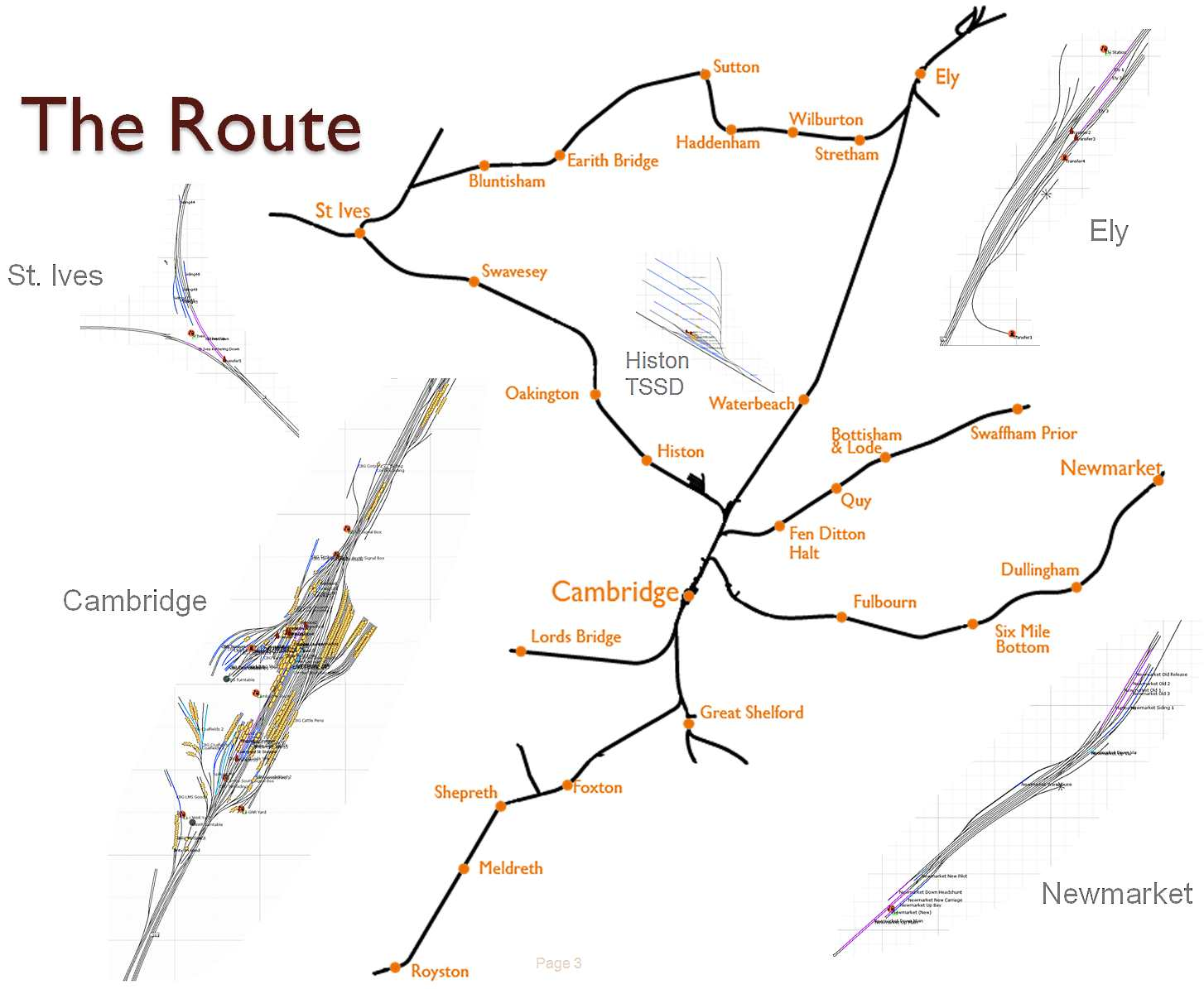 A plan showing the major lines of the Cambridge route and trackplans of major stations.